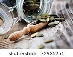 Pumpkin Seeds In Small Glass...