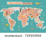 world travel map poster. travel ... | Shutterstock .eps vector #729353905