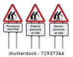 Senior or elderly pensions warning road sign - stock photo