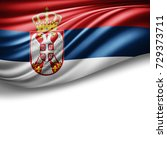 serbia flag of silk with... | Shutterstock . vector #729373711