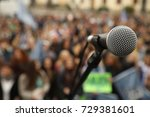 microphone at auditorium | Shutterstock . vector #729381601