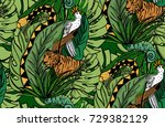 jungle animals on green... | Shutterstock .eps vector #729382129