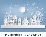 winter snow urban countryside... | Shutterstock .eps vector #729382495
