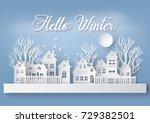 winter snow urban countryside... | Shutterstock .eps vector #729382501