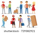 delivery vector man boy service ... | Shutterstock .eps vector #729382921