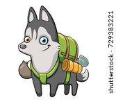 cartoon funny smiling husky...   Shutterstock .eps vector #729383221