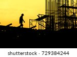 construction worker working on... | Shutterstock . vector #729384244