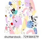 brush  marker  pencil stroke... | Shutterstock .eps vector #729384379