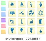 energy icons on post it note...   Shutterstock .eps vector #72938554