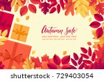 various autumn leaves  gift... | Shutterstock .eps vector #729403054