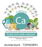 food rich with calcium. healthy ... | Shutterstock .eps vector #729403891