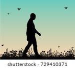 vector  silhouette man walking