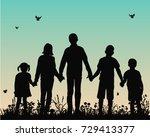 vector silhouette of children... | Shutterstock .eps vector #729413377
