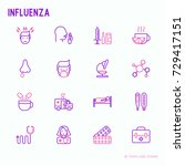 influenza thin line icons set... | Shutterstock .eps vector #729417151