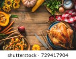 christmas or thanksgiving... | Shutterstock . vector #729417904