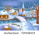 Peaceful Village Covered By Snow