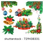 christmas frames and ornaments | Shutterstock .eps vector #729438331