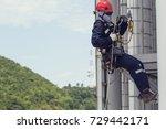 male worker rope access ... | Shutterstock . vector #729442171