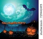 halloween party vector concept... | Shutterstock .eps vector #729442495