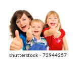 smiling family showing thumb up | Shutterstock . vector #72944257