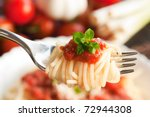 spaghetti with tomato sauce and ... | Shutterstock . vector #72944308