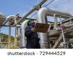male worker inspection visual... | Shutterstock . vector #729444529
