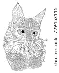 hand drawn cat. sketch for anti ... | Shutterstock .eps vector #729453115