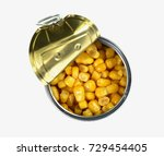 canned sweet corn in a tin can. ... | Shutterstock . vector #729454405