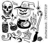 set of attributes for halloween | Shutterstock .eps vector #729457219