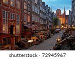 Marys street with the Basilica in Gdansk, Poland. - stock photo