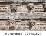 Sculpture details of the temple of the feathered serpent Quetzalcoatl, Teotihuacan archaeological site, Mexico