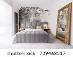 Stock photo elegant monochromatic bedroom reflected in a wood framed mirror supported by the wall 729468517