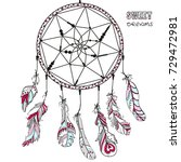 dreamcatcher. tattoo art ... | Shutterstock . vector #729472981