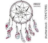 dreamcatcher. tattoo art ... | Shutterstock . vector #729472981