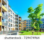 Trees at complex of new apartment residential buildings with outdoor facilities. - stock photo