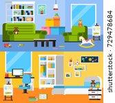 baby room interiors flat... | Shutterstock . vector #729478684