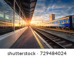 beautiful train with blue... | Shutterstock . vector #729484024