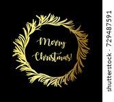 merry christmas. golden... | Shutterstock .eps vector #729487591