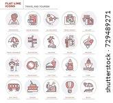 set of vector flat icons.... | Shutterstock .eps vector #729489271