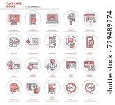 set of vector flat icons. e... | Shutterstock .eps vector #729489274