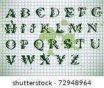 green alphabet on old green...   Shutterstock .eps vector #72948964