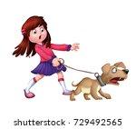 illustration of a girl pulling... | Shutterstock . vector #729492565