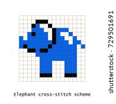cross stitch pixel art elephant ... | Shutterstock .eps vector #729501691