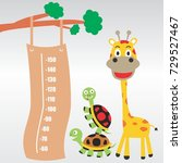 meter wall with funny animals...   Shutterstock .eps vector #729527467