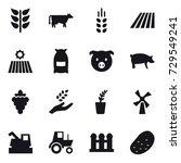 16 vector icon set   cow ... | Shutterstock .eps vector #729549241