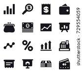 16 vector icon set   graph ... | Shutterstock .eps vector #729554059