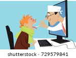 a doctor coming out of a... | Shutterstock .eps vector #729579841