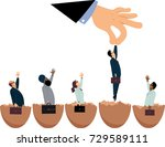 giant hand picking up one of... | Shutterstock .eps vector #729589111