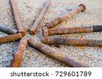 set of oxidized steel bolts ... | Shutterstock . vector #729601789