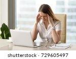 businesswoman under terrible... | Shutterstock . vector #729605497